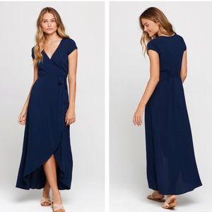 L*Space Goa Maxi Wrap Dress in Midnight Blue Small